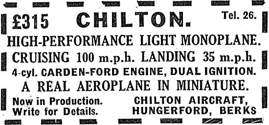 Chilton High Performance Light Monoplane: Carden Ford: £315