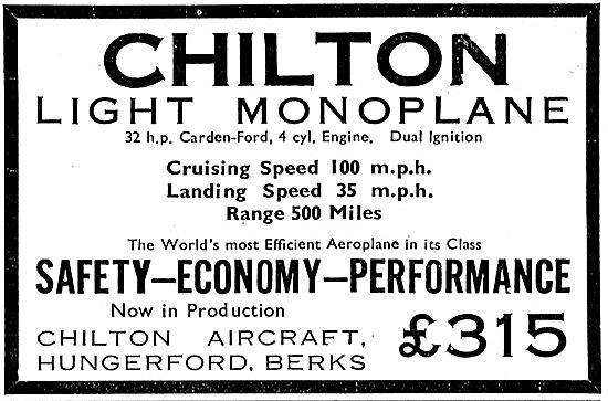 Chilton Light Monoplane Aircraft: 32 HP Carden-Ford 4 Cyl Engine