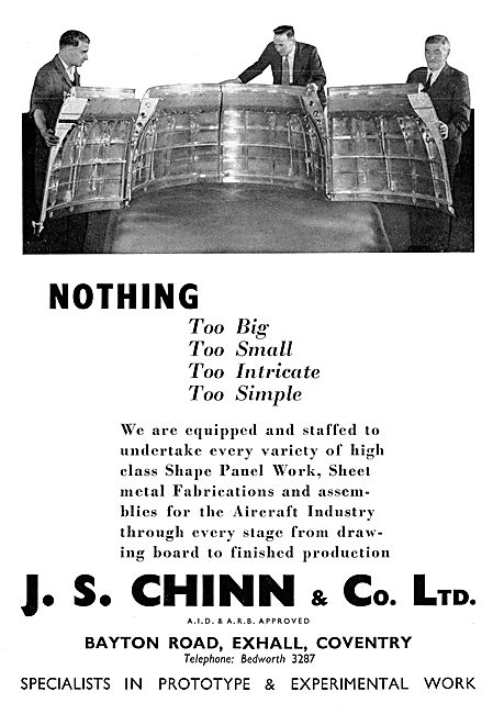 J.S.Chinn & Co. Exhall.Coventry. Aircraft Sheet Metal Work
