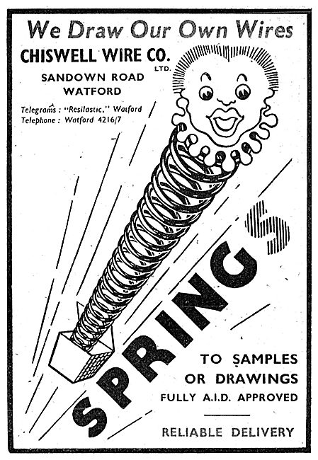 Chiswell Wire. Spring Manufacturers 1943 Advert