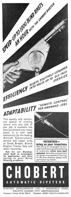 Aviation Developments : Chobert Riveting System