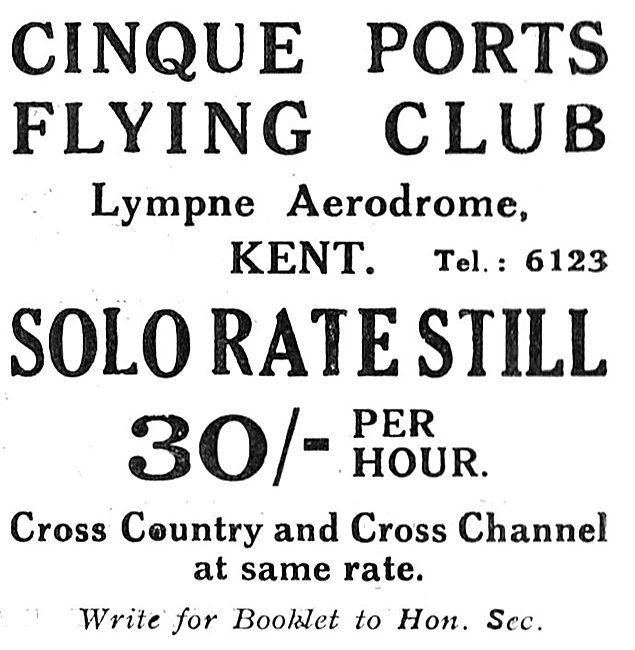 Cinque Ports Flying Club Lympne 1931