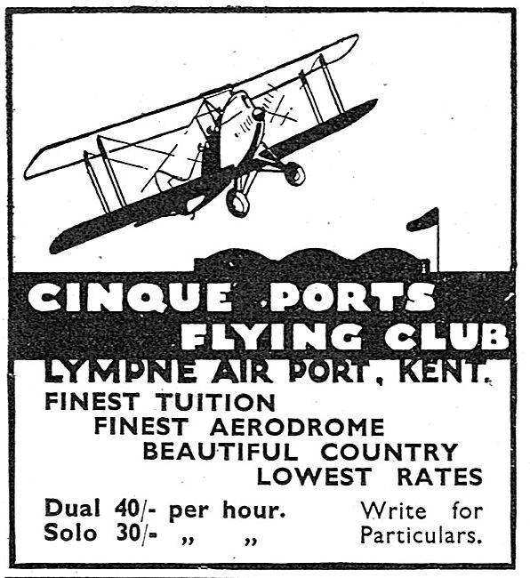 Cinque Ports Flying Club Lympne - Dual 40/- Solo 30/-