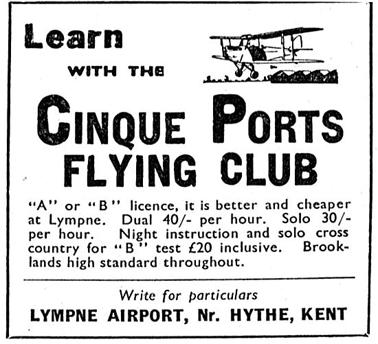 Cinque Ports Flying Club Lympne 1933