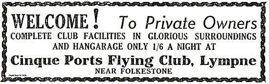 Cinque Ports Flying Club Lympne Welcomes Private Owners