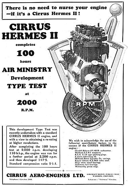 Cirrus Hermes II Aero Engine Passes Air Ministry Tests