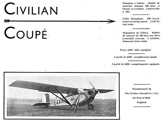 Civilian Coupe Aircraft - Two Seater Monoplane G-AAIL