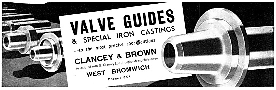 Clancey & Brown Engineers. Valve Guides & Iron Castings