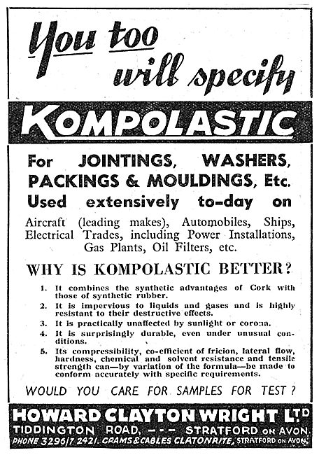 Clayton-Wright KOMPOPLASTIC Jointings, Washers & Mouldings 1943