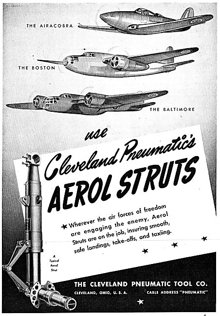 Cleveland Pneumatic Aerol Undercarriage Struts. 1942