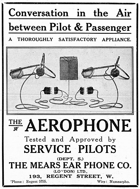 The Mears Ear Phone Company. Aerophone Pilots Intercom  1915