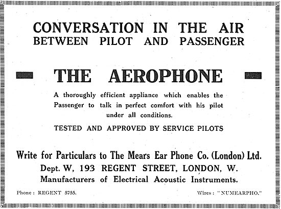The Mears Ear Phone Co. Aerophone Pilots Intercom