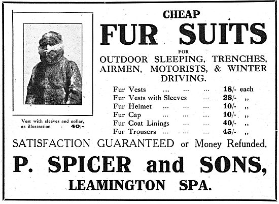 P.Spicer & Sons. Leamington Spa. Cheap Fur Suits For Aviators