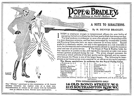 Pope & Bradley. Old Bond St. Civil, Military & Naval Tailors.