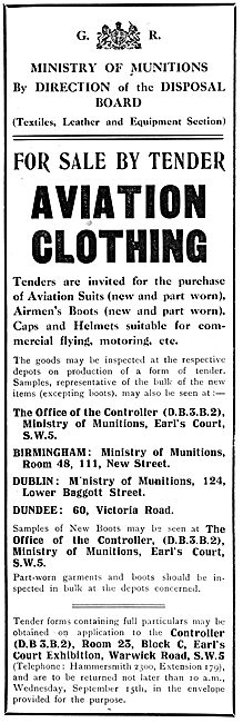 Ministry Of Munitions. Aviation Clothing For Sale By Tender. 1920