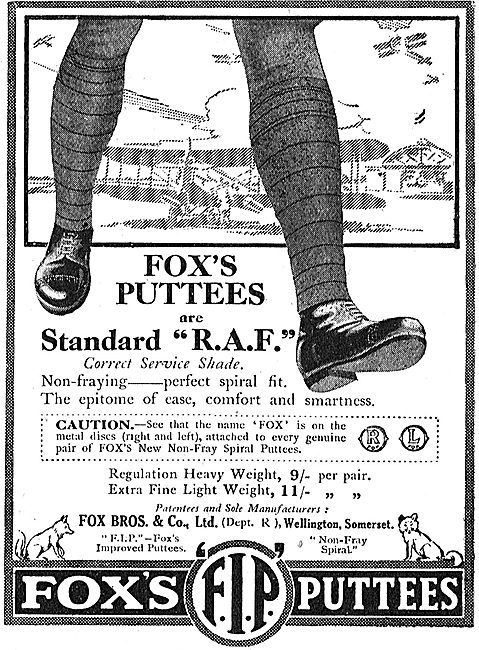 Fox's Puttees Are Standard For The RAF.
