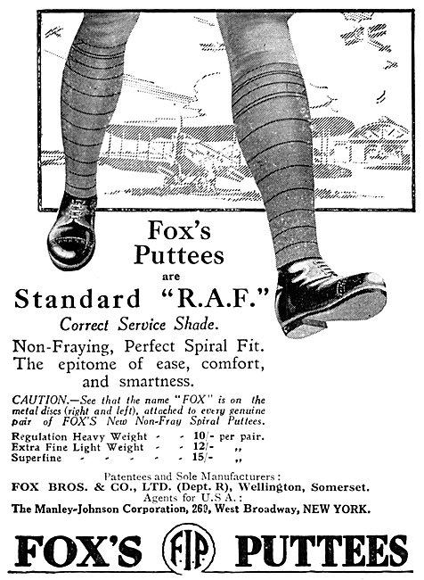 Fox Bros. Fox's RAF Standard Puttees 1925 Advert