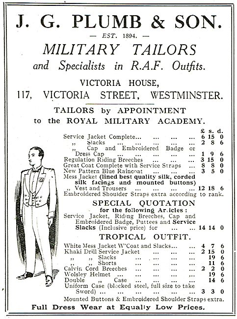 J.G.Plumb Military Tailors & Specialists In RAF Outfits