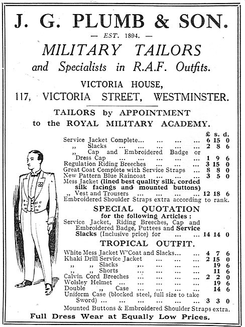 J.G.Plumb Miltary Tailors - RAF Uniform Specialists