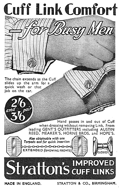 Strattons Cuff Links 1937