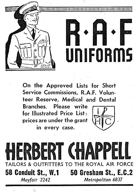 Herbert Chappell RAF Uniforms: On Approved For Short Service Offs