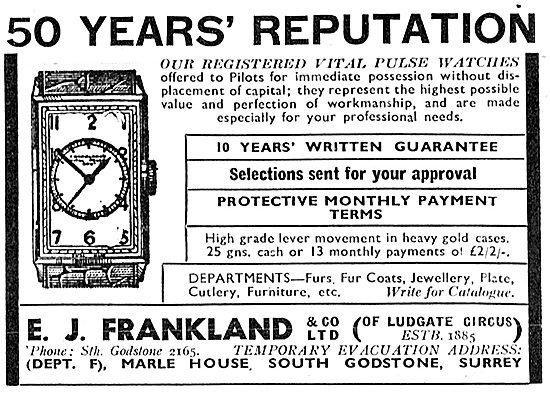 E.J.Frankland Vital Pulse Watches. 1942 Advert