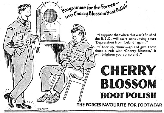 Cherry Blossom Boot Polish. Wartime Adverts