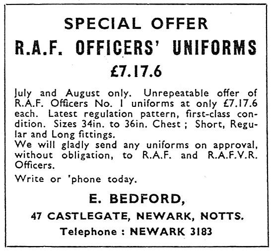 E.Bedford RAF Outfitters. Castlegate, Newark, Notts.