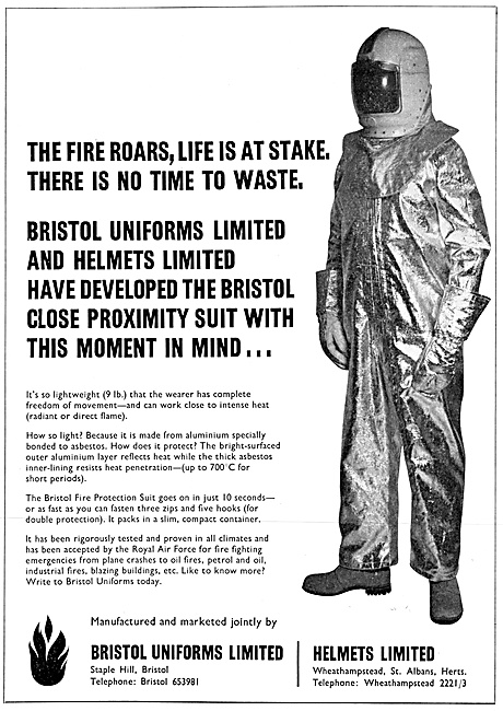 Bristol Uniforms Asbestos Fire Protection Suits 1967