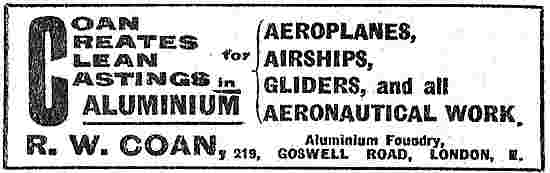 R.W.Coan Creates Clean Castings For Aeroplanes & Airships