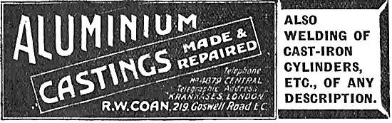R.W.Coan Aluminium Castings For Aeroplane Constructors