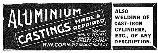 R.W.Coan Aluminium Castings For Aeroplanes