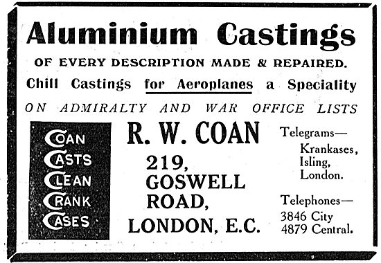 R.W.Coan  Chill Castings For Aeroplanes A Speciality