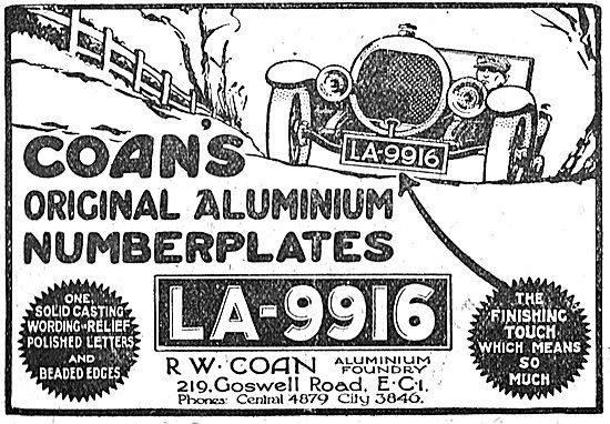 R.W.Coan's Original Aluminium Car Number Plates