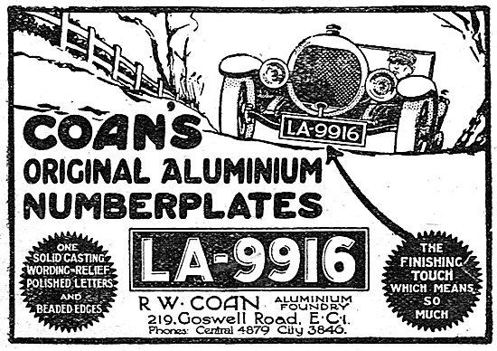 Coan's Original Aluminium Numberplates