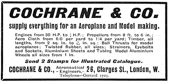 Cochrane & Co. Aeronautical Engineers Aeroplane & Model Supplies