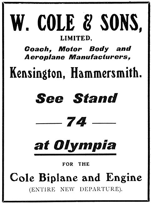 W.Cole & Sons. Cole Biplane Cole Engine 1911