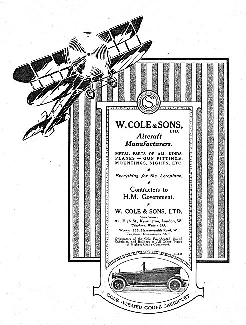 W.Cole & Sons. Aircraft Manufacturers. Cole Aircraft