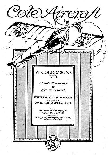 W.Cole & Sons. Everything For The Aeroplane