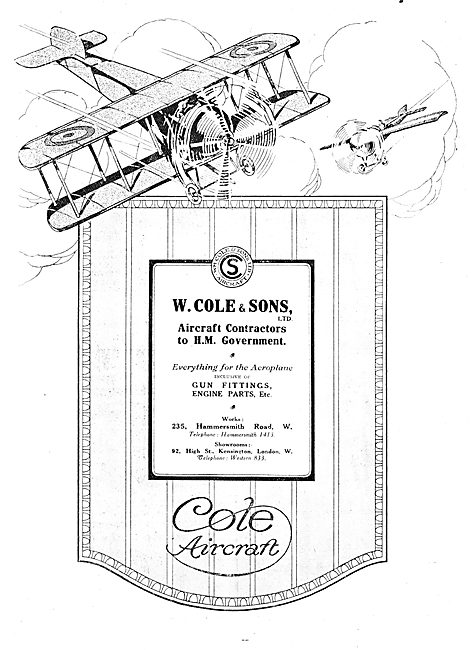 W.Cole & Sons. Cole Aircraft 1917