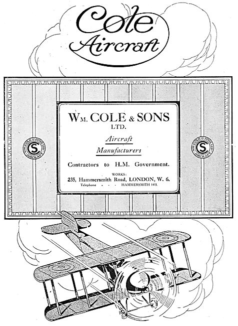 W.Cole & Sons. Cole Aircraft Manufacturers