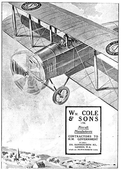 W.Cole & Sons. Cole Aircraft WW1