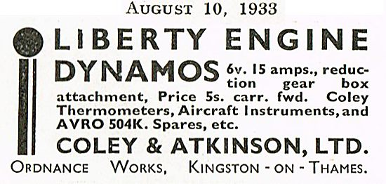 Liberty Engine Dynamos & Avro Spares