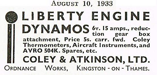 Liberty Engine Dynamos & Avro Spares