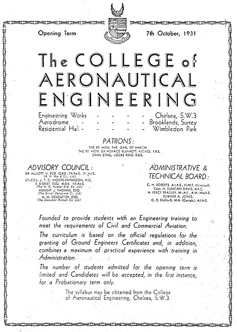 The College Of Aeronautical Engineering - Chelsea 1931