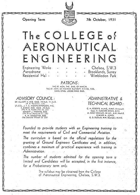 The College Of Aeronautical Engineering - Chelsea 1931