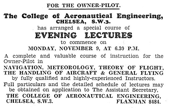 The College Of Aeronautical Engineering 1931
