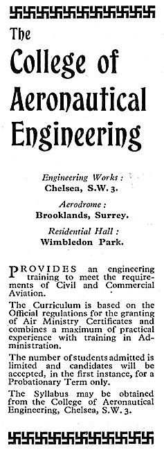 The College Of Aeronautical Engineering 1933