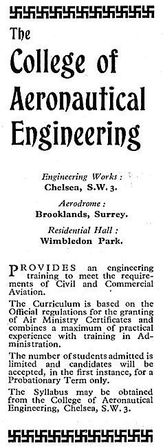 The College Of Aeronautical Engineering 1933