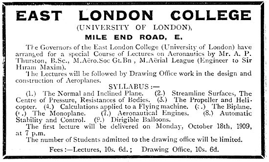 East London College. University Of London. Aeronautical Courses